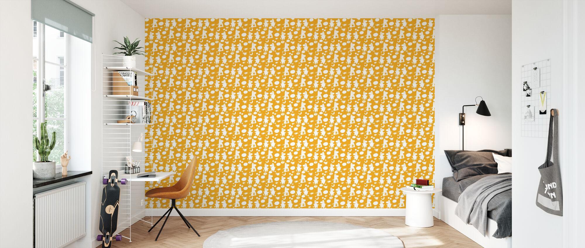 Moomin Retro Patroon - Geel - Behang - Kinderkamer