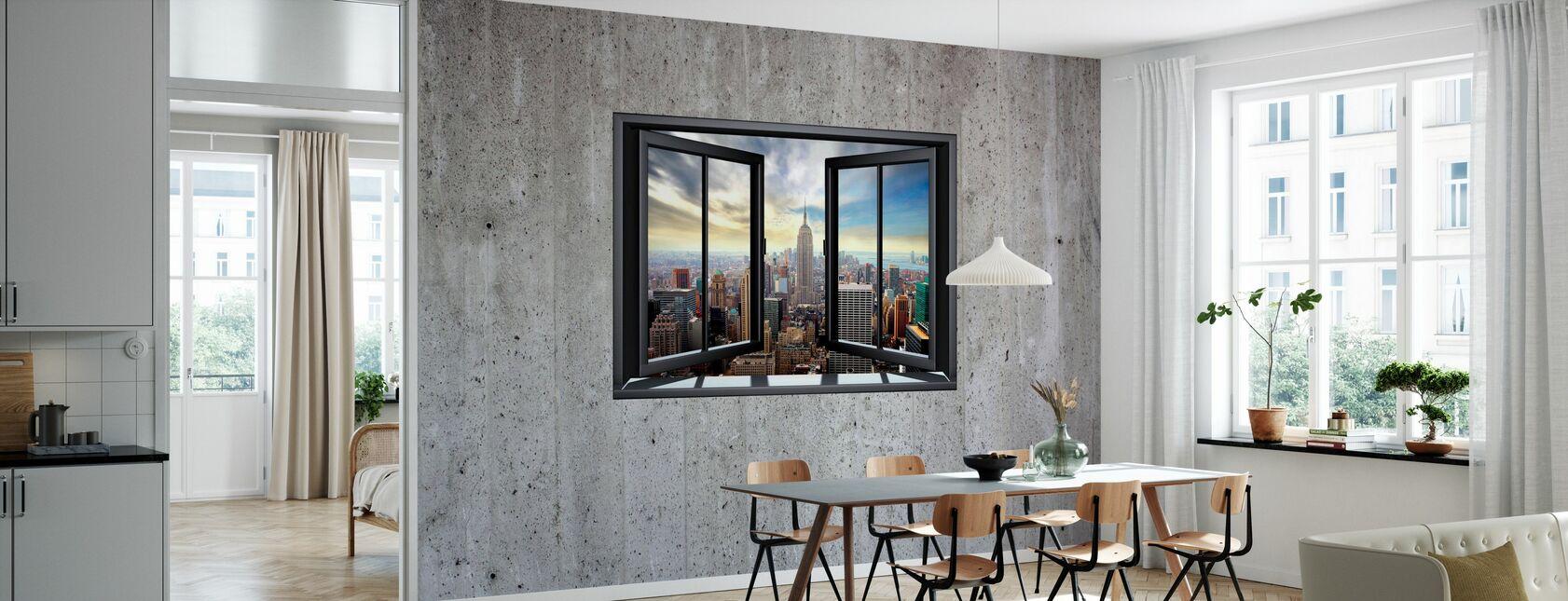 New York door raam - Betonnen muur - Behang - Keuken