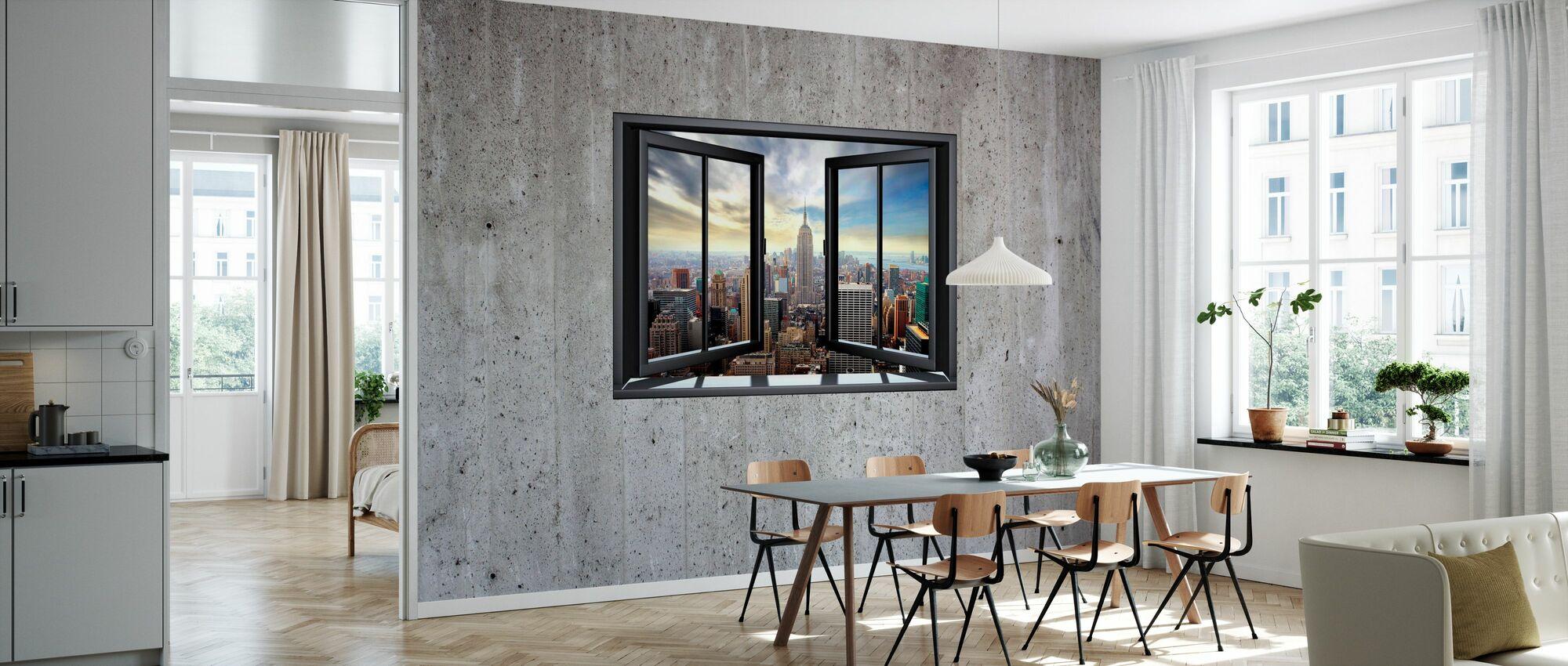 New York gjennom vinduet - Betongvegg - Tapet - Kjøkken