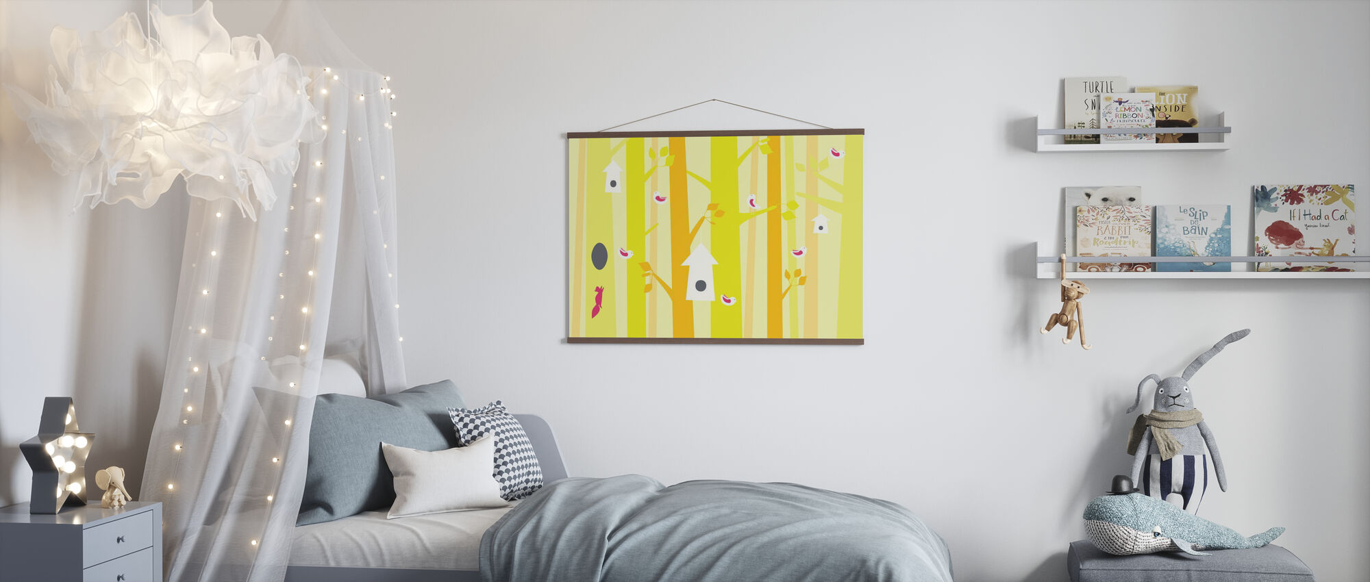Birdforest - Yellow and Pink - Poster - Kids Room