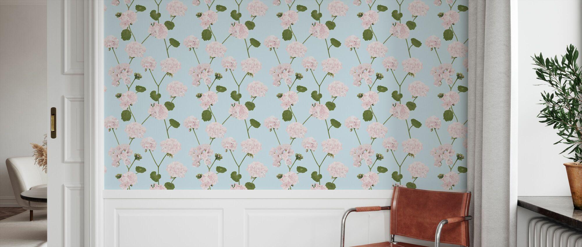 Geranium - Blue - Wallpaper - Hallway