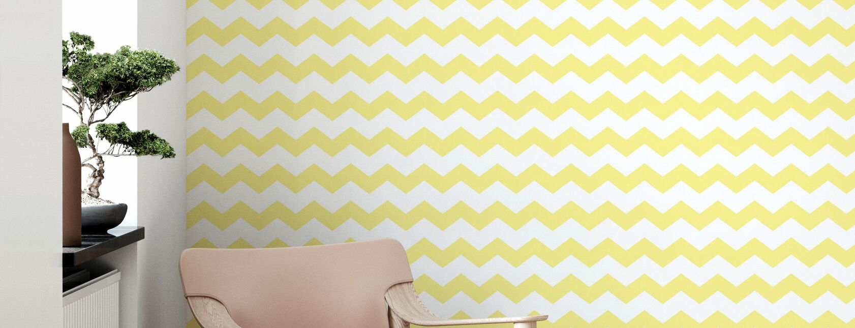 Zickzack - Yellow - Wallpaper - Living Room
