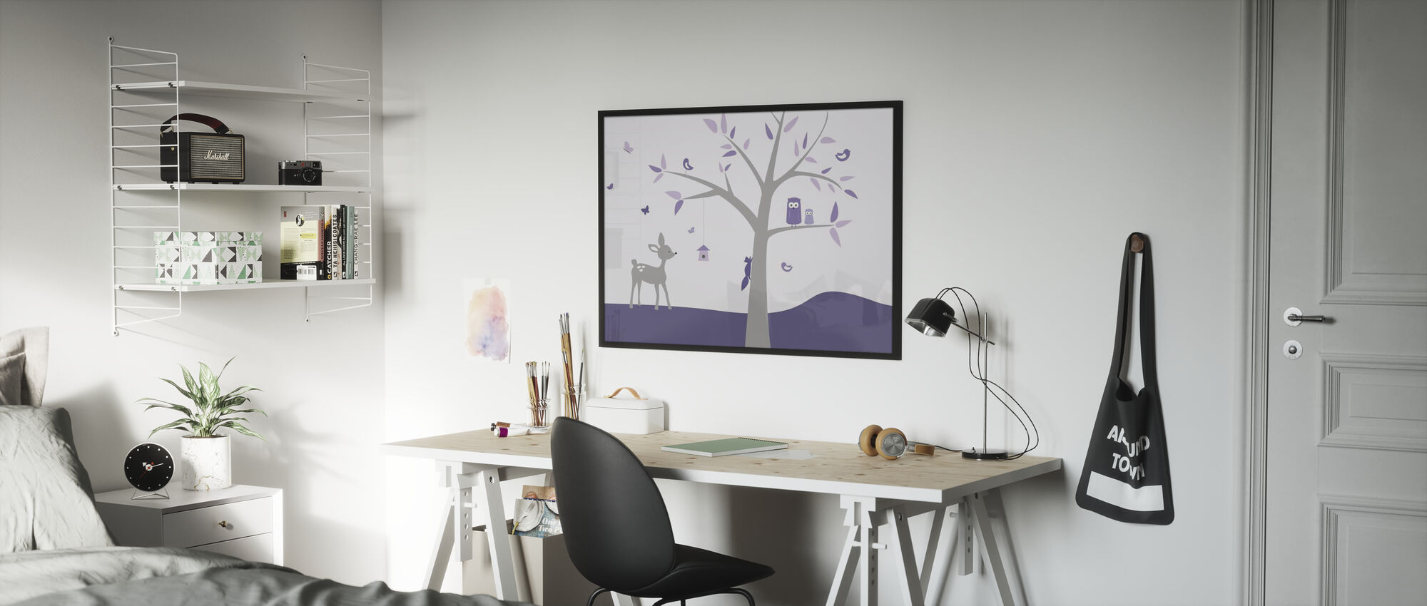Animal Tree Purple Deer - Framed print - Kids Room