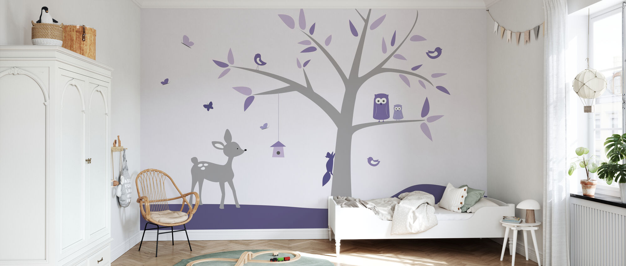Animal Tree Purple Deer - Wallpaper - Kids Room