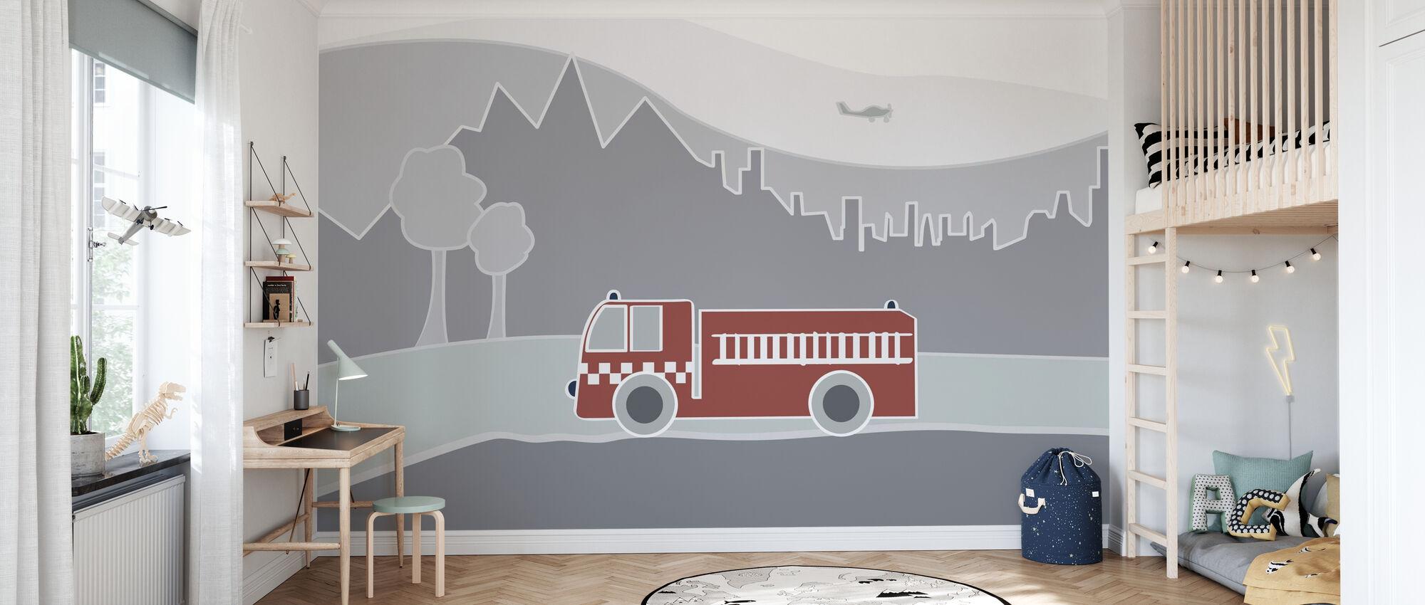 Fire Truck - Wallpaper - Kids Room