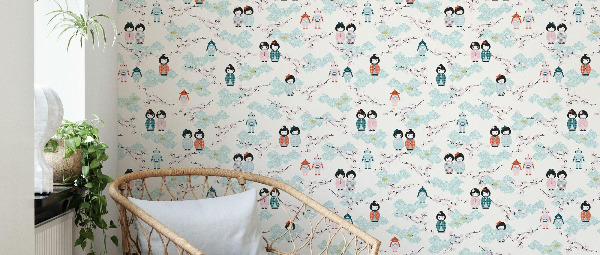 Kokeshi & Robot - Wallpaper - Living Room