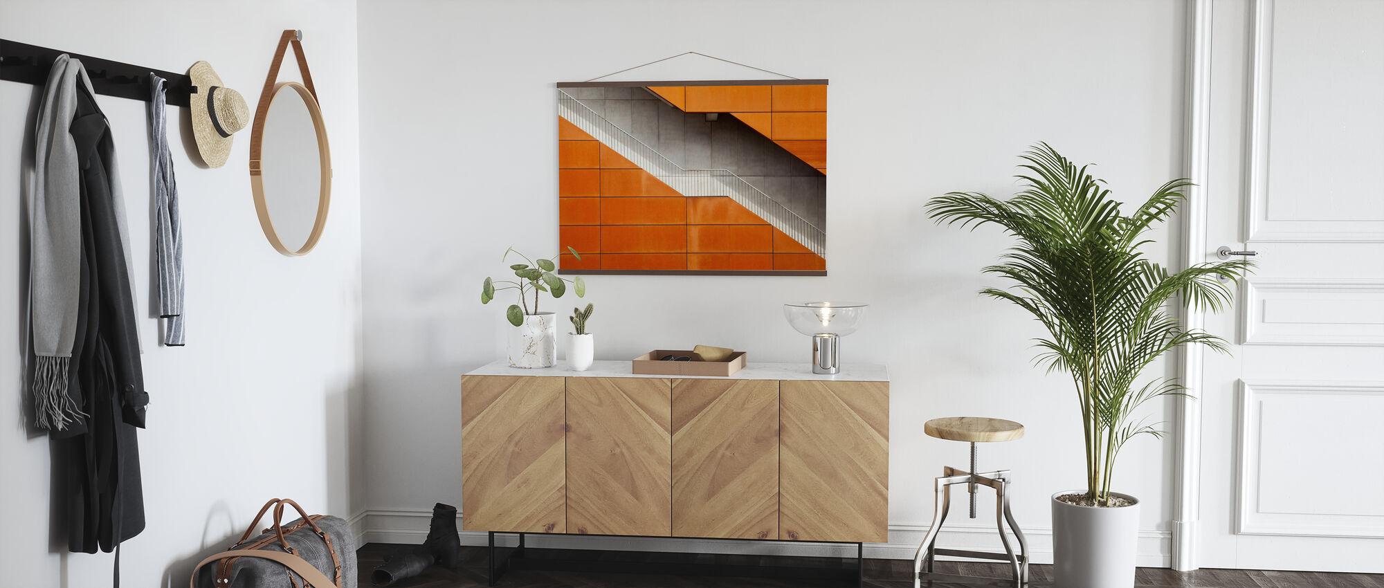 Orange Stairway - Poster - Hallway