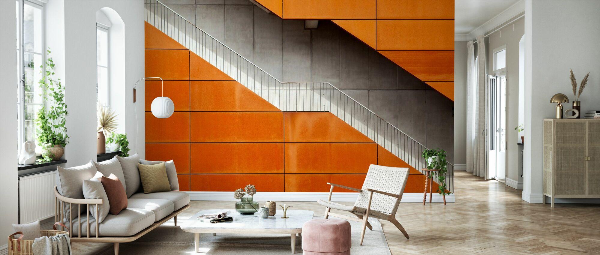 Escalier orange - Papier peint - Salle à manger