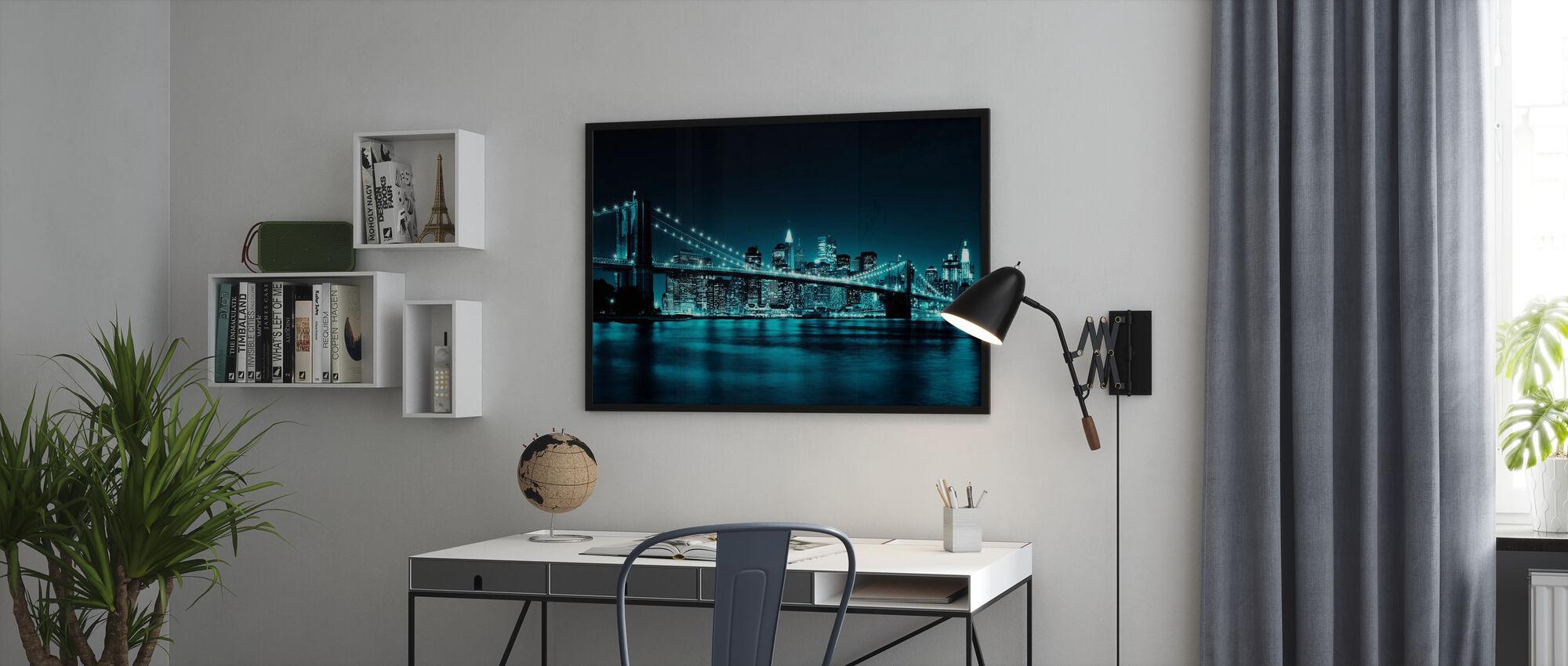 Brooklyn Bridge - Blå - Inramad tavla - Kontor