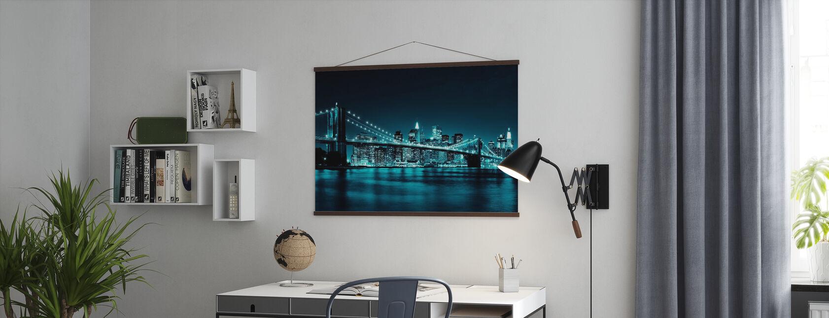 Brooklyn Bridge - Blå - Plakat - Kontor