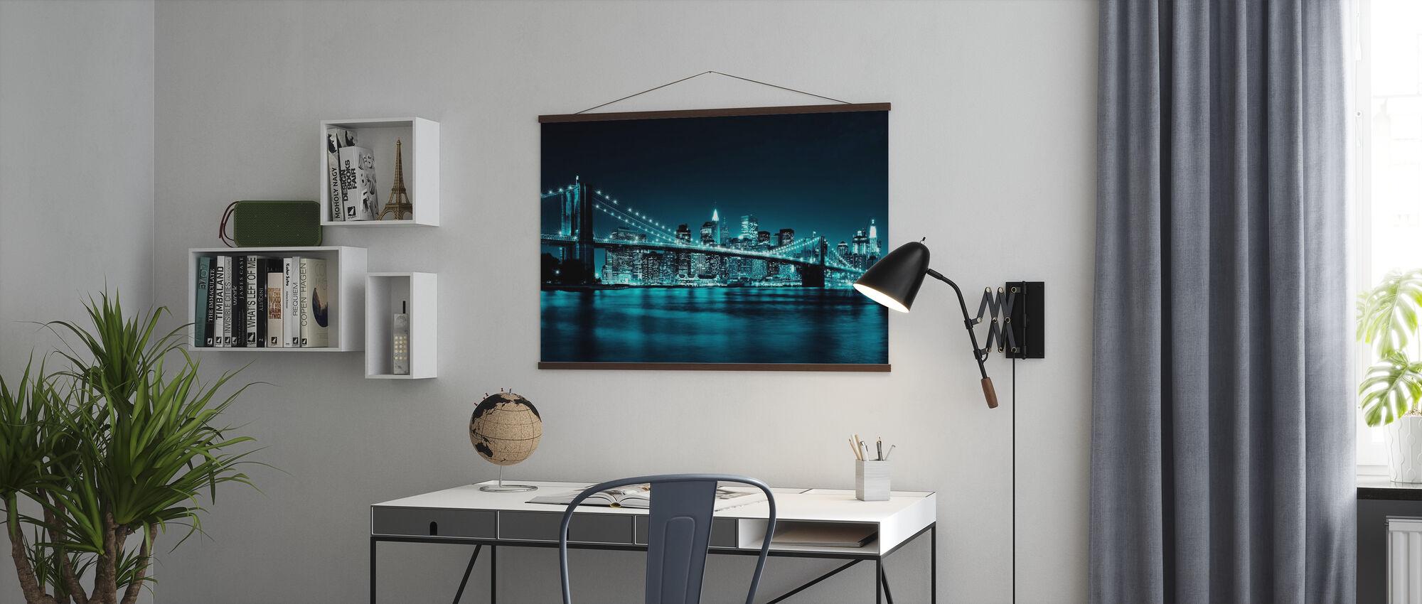 Brooklyn Bridge - Sininen - Juliste - Toimisto
