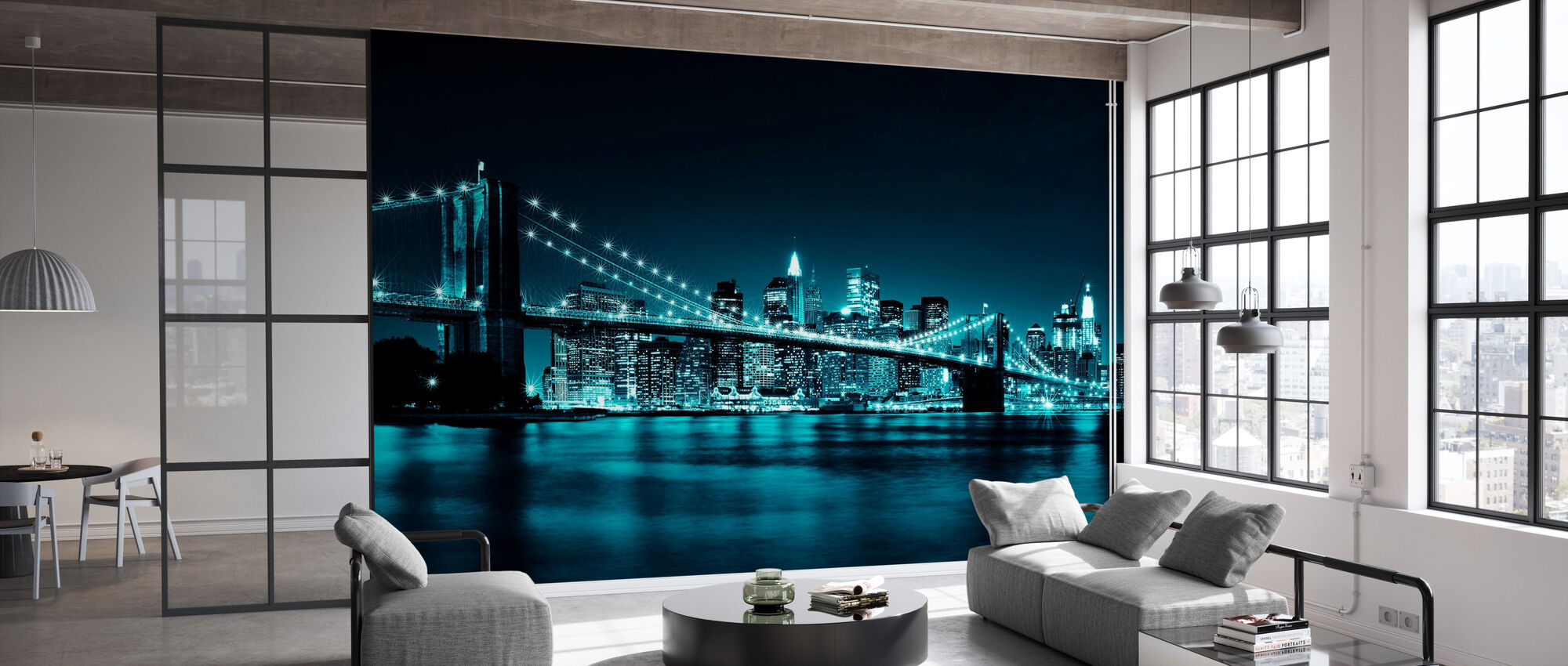 Brooklyn Bridge - Blue - Wallpaper - Office