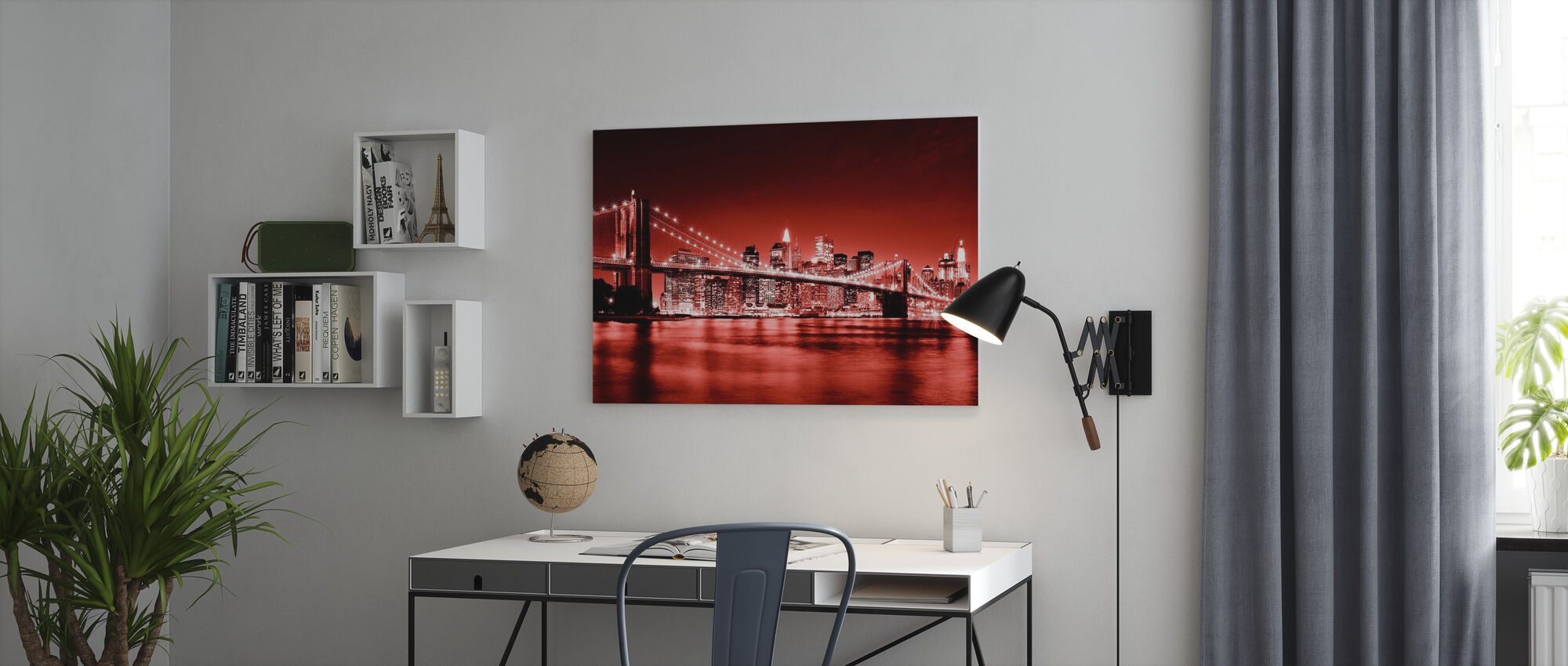 Brooklyn Bridge - Rood - Canvas print - Kantoor