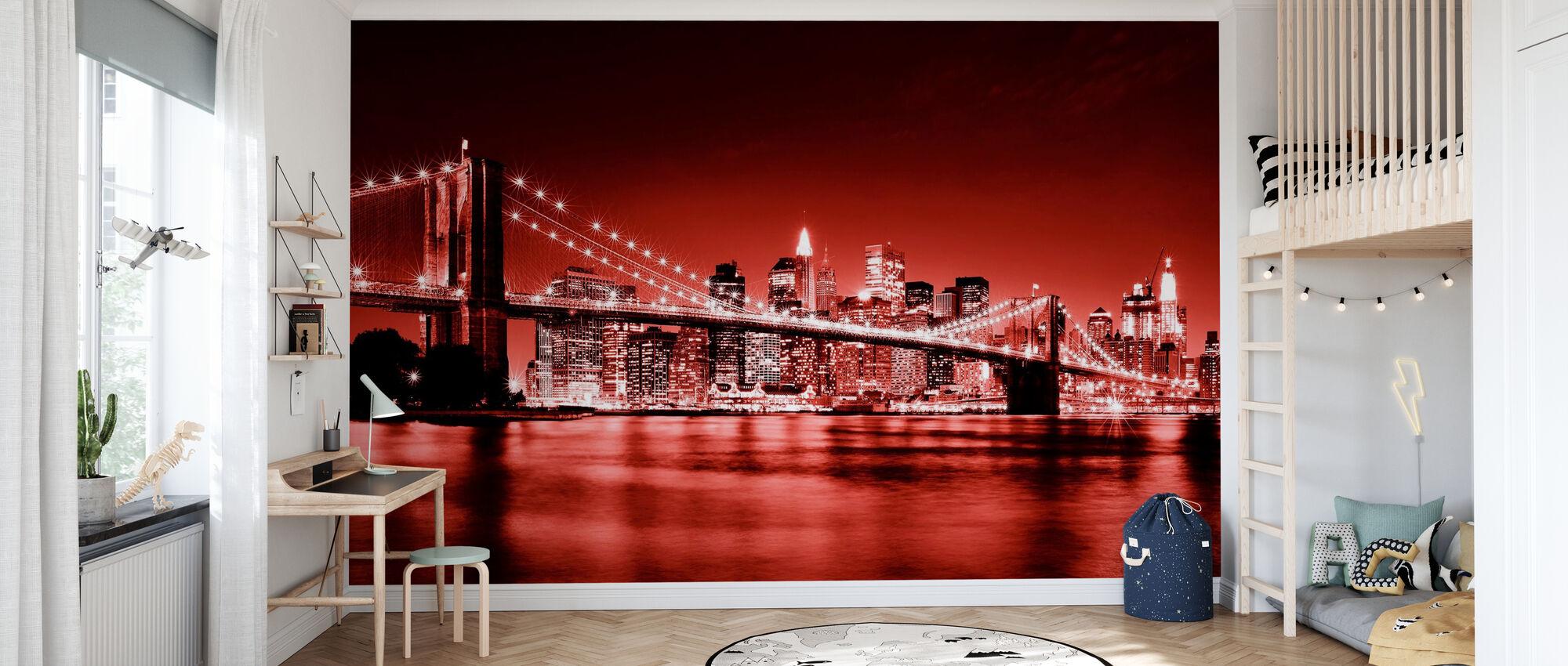 Brooklyn Bridge - röd - Tapet - Barnrum