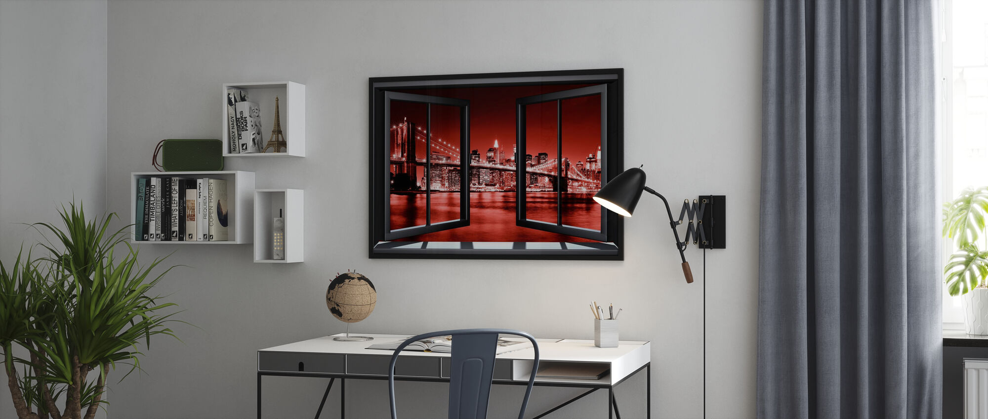 Brooklyn Bridge genom fönster - röd - Inramad tavla - Kontor