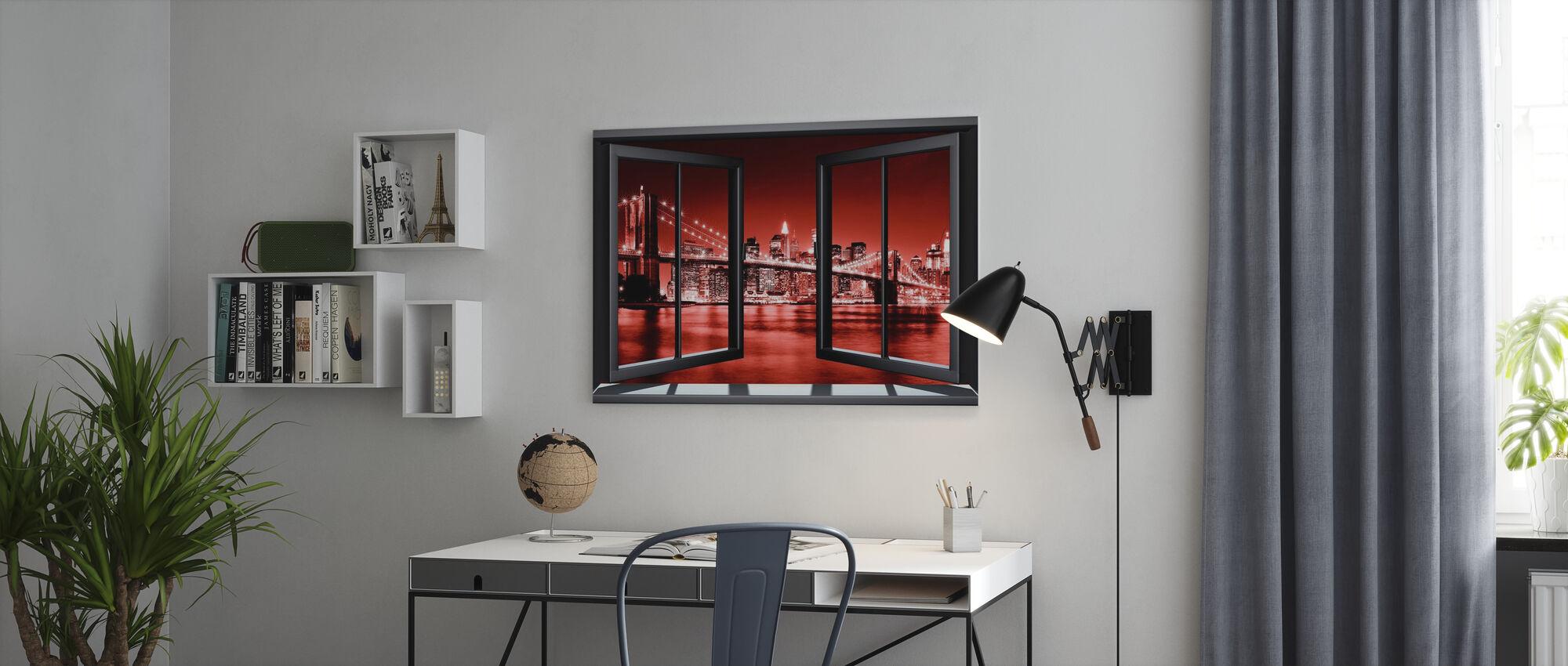 Brooklyn Bridge genom fönster - röd - Canvastavla - Kontor