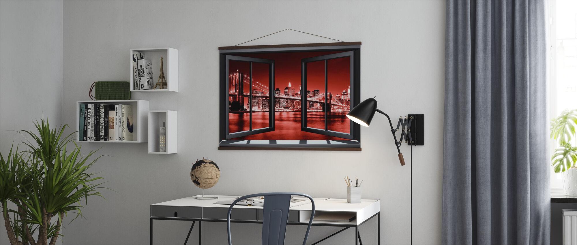 Brooklyn Bridge Through Window - Red - Poster - Office