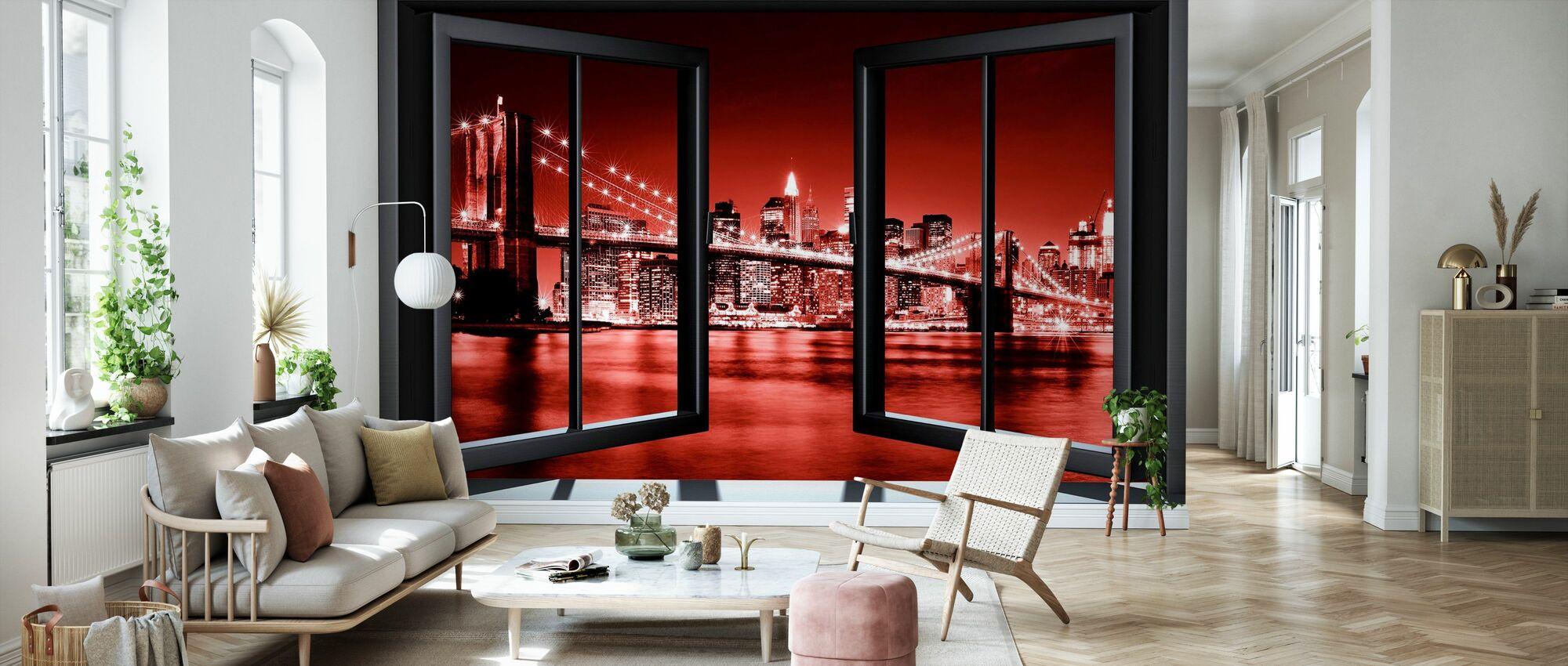 Brooklyn Bridge genom fönster - röd - Tapet - Vardagsrum