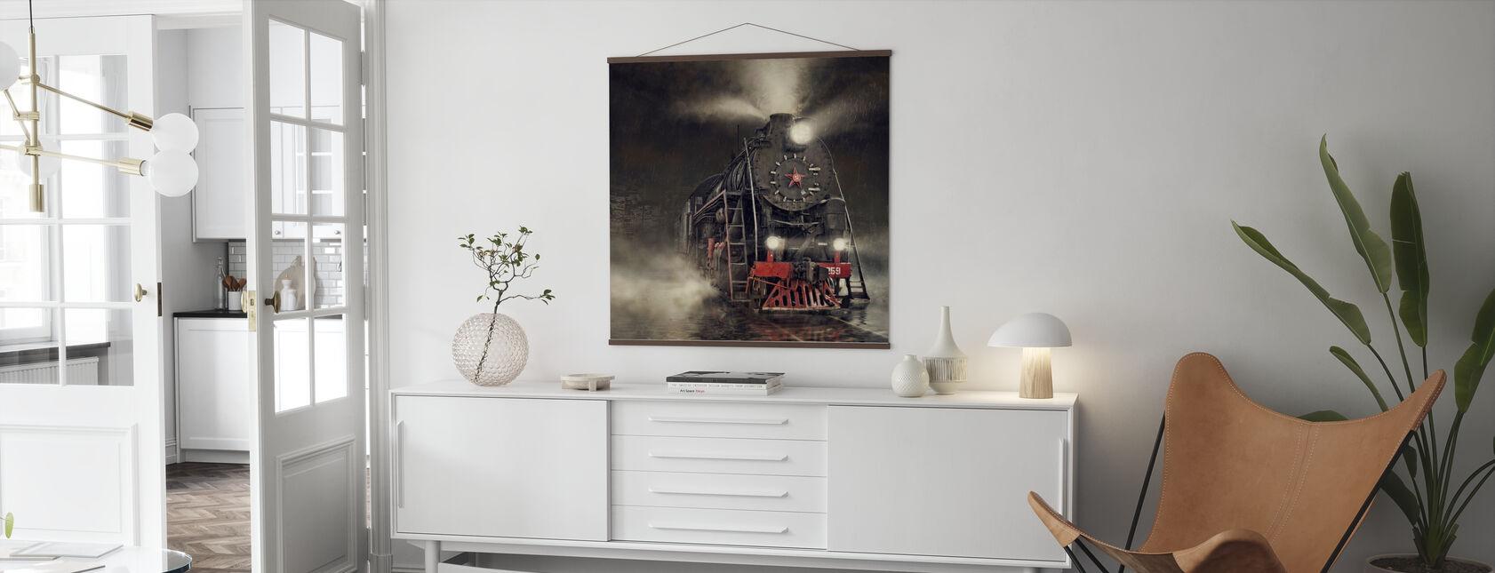 Trein in de regen - Poster - Woonkamer