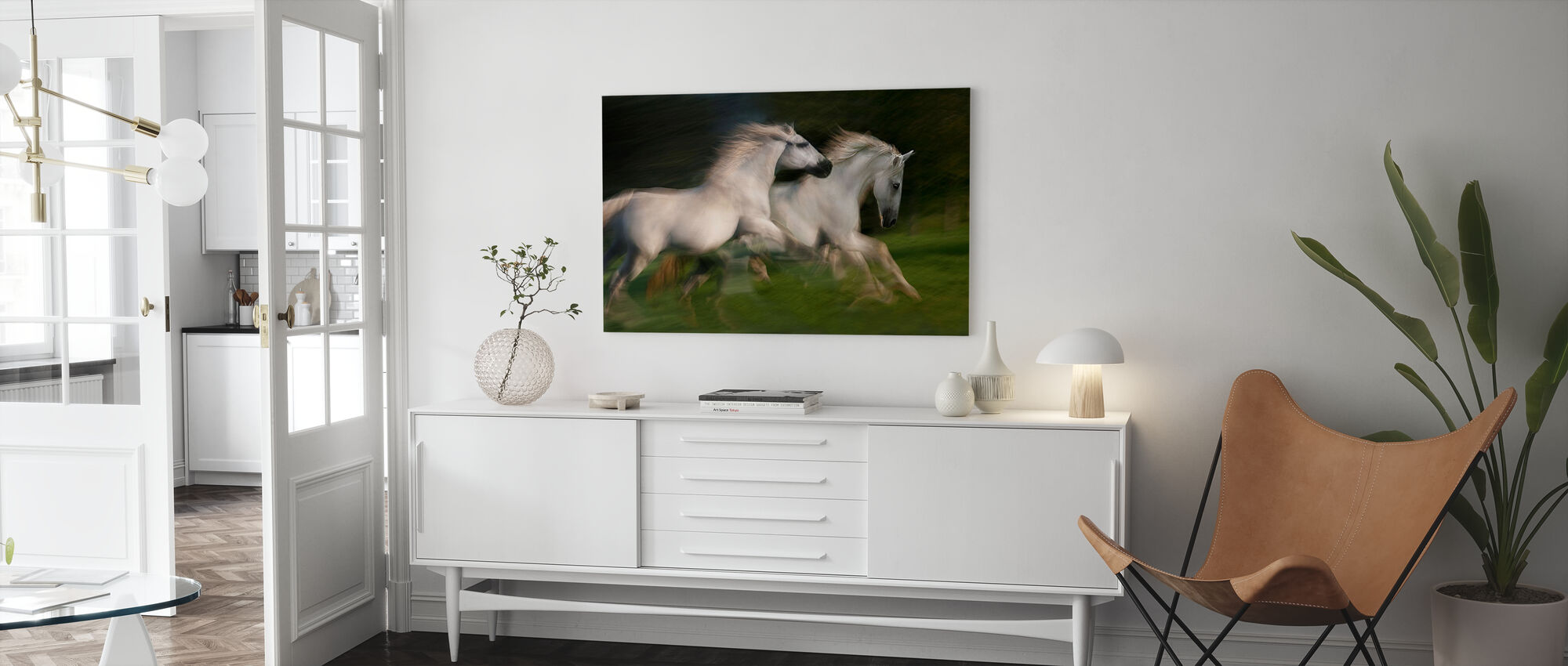 Witte Paarden Galop - Canvas print - Woonkamer