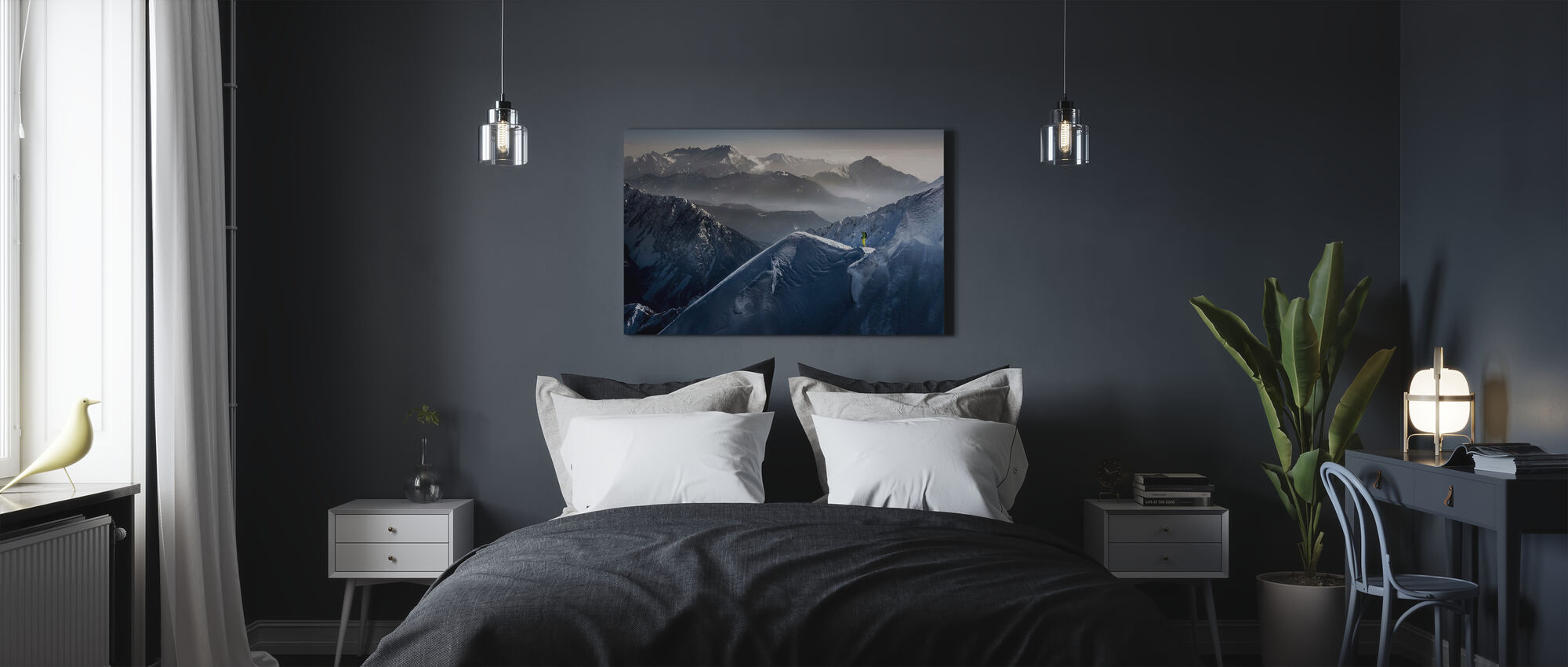 Skier on Mountain Top - Canvas print - Bedroom