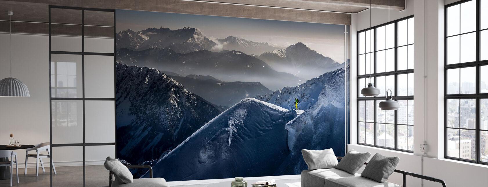 Skiër op Mountain Top - Behang - Kantoor