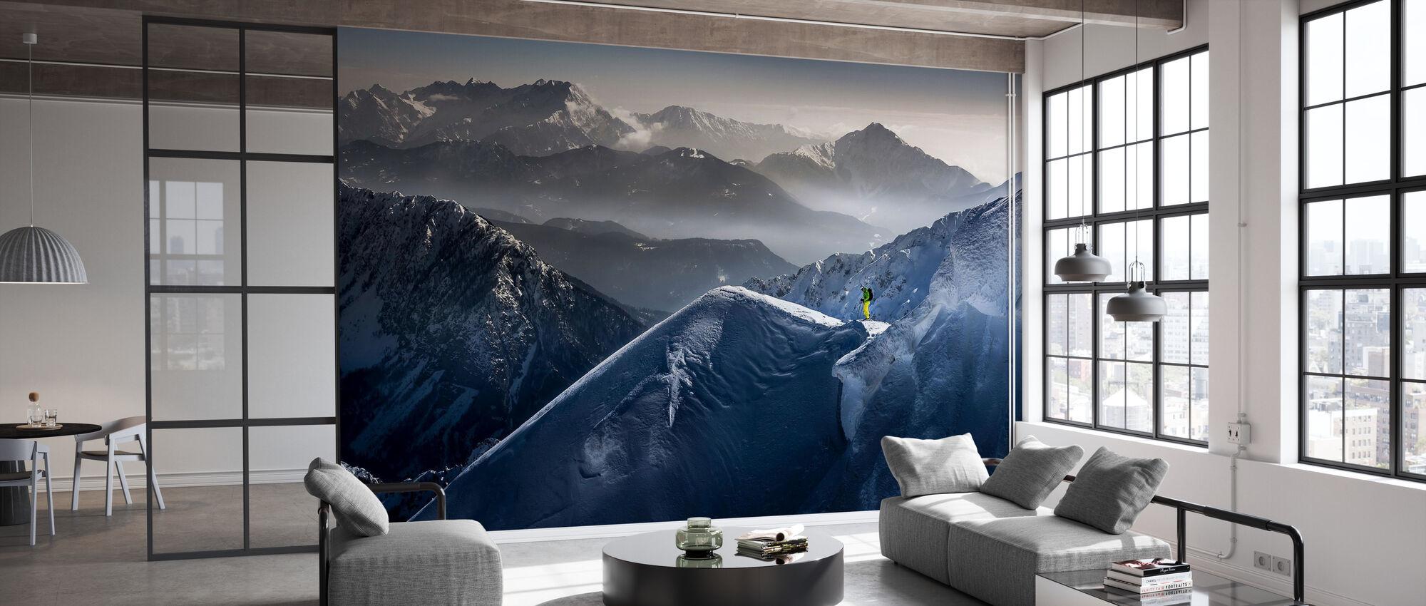Skier on Mountain Top - Wallpaper - Office