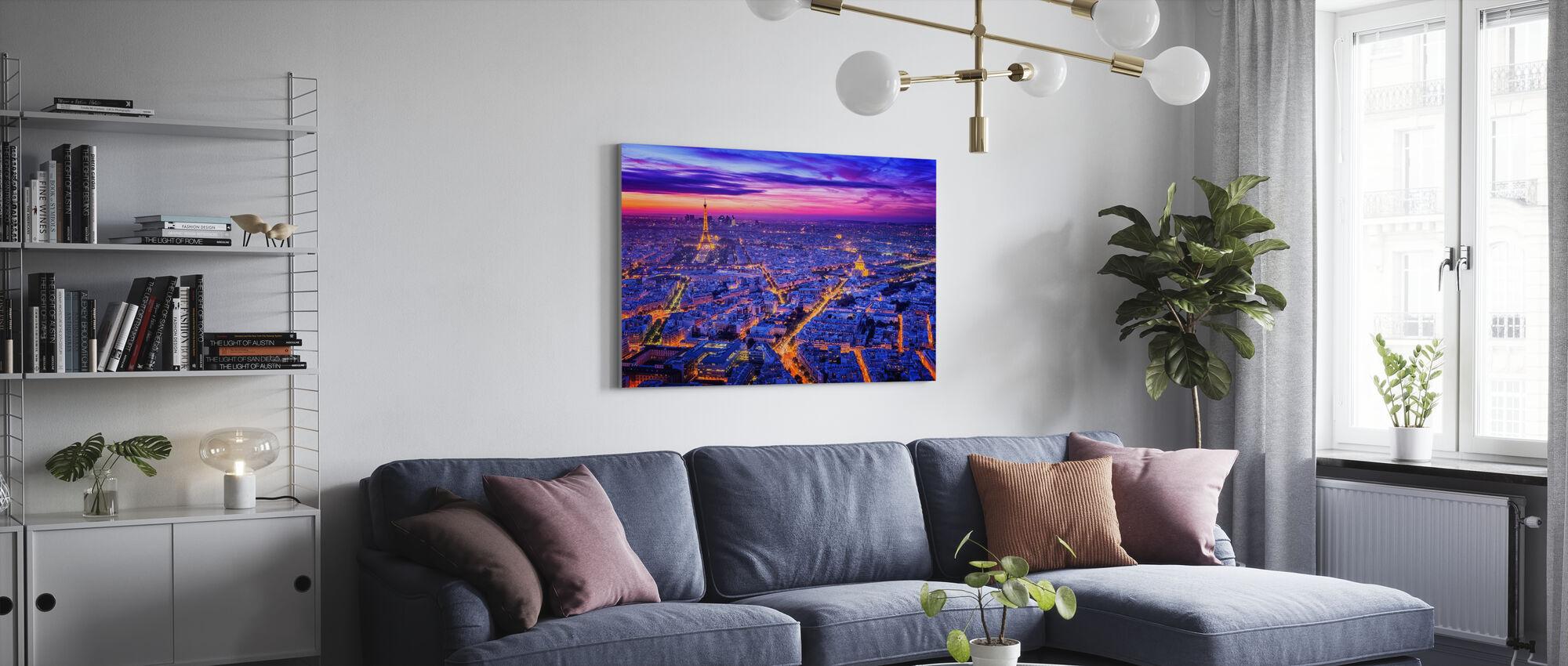 Paris efter nat - Billede på lærred - Stue