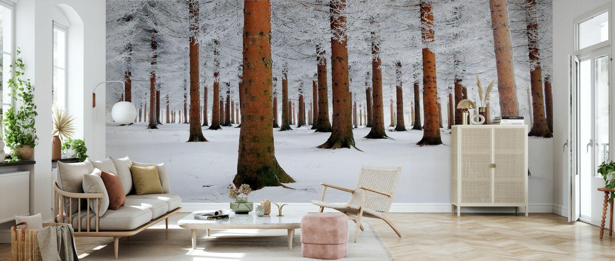 Weißwald - Tapete - Wohnzimmer