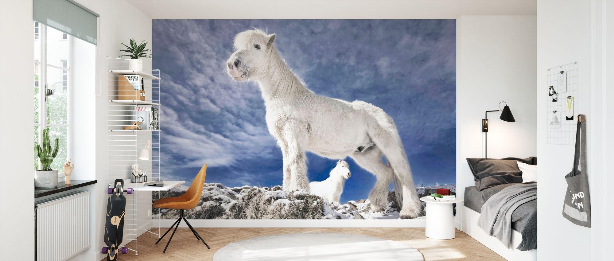 Snowwhite Horses - Wallpaper - Kids Room