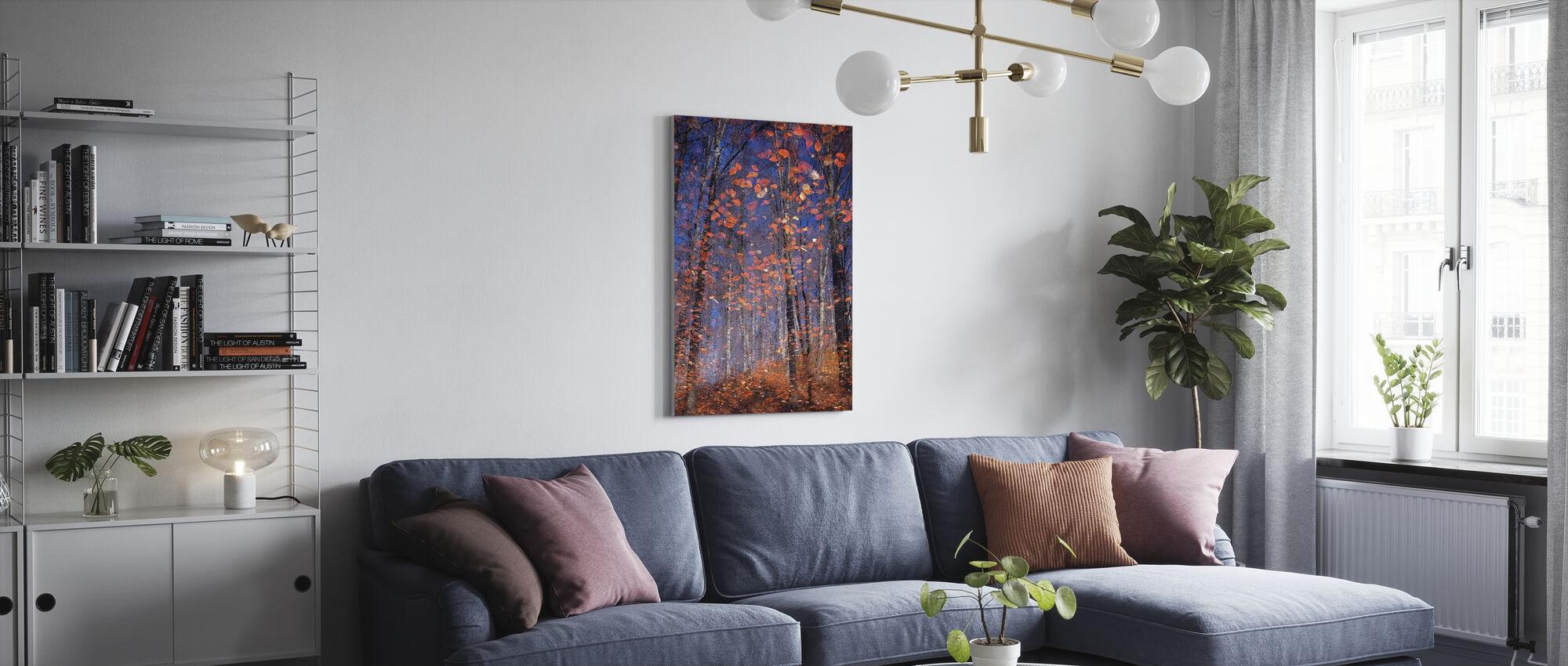Golden Autumn Leaves - Canvas print - Living Room