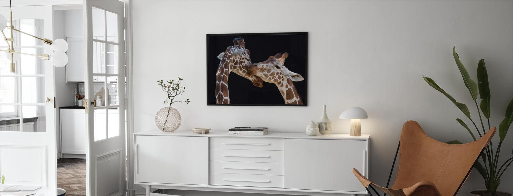 Giraffen zoenen - Ingelijste print - Woonkamer