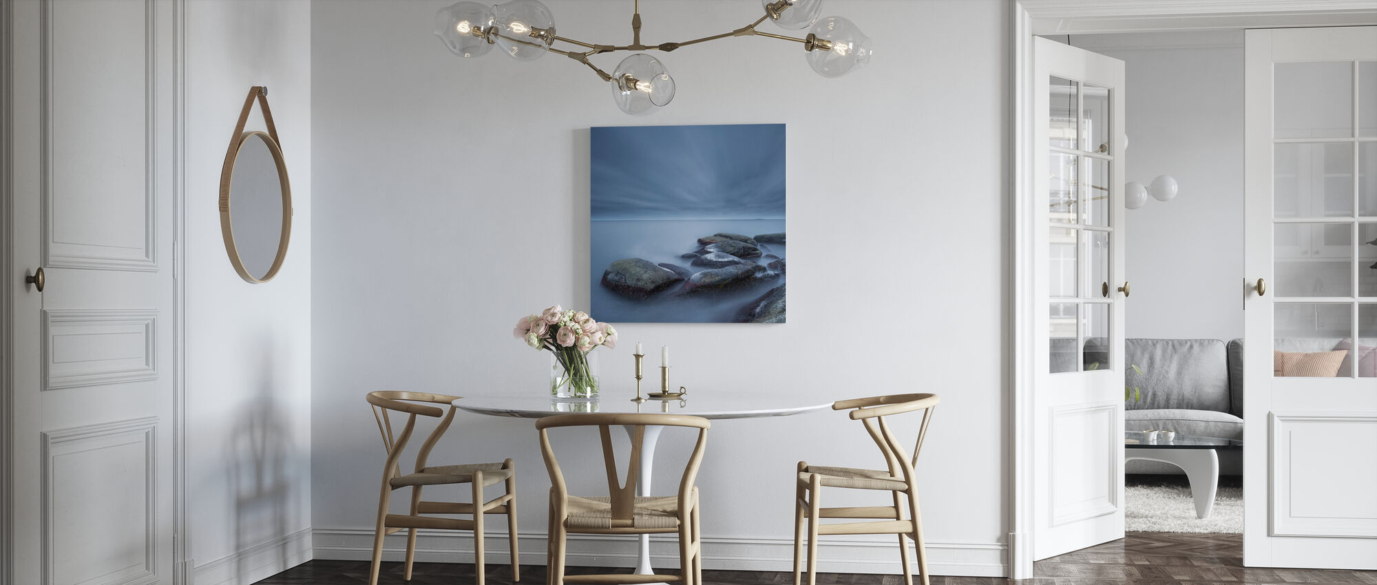 Mistige stenen in Blauwe Zee - Canvas print - Keuken