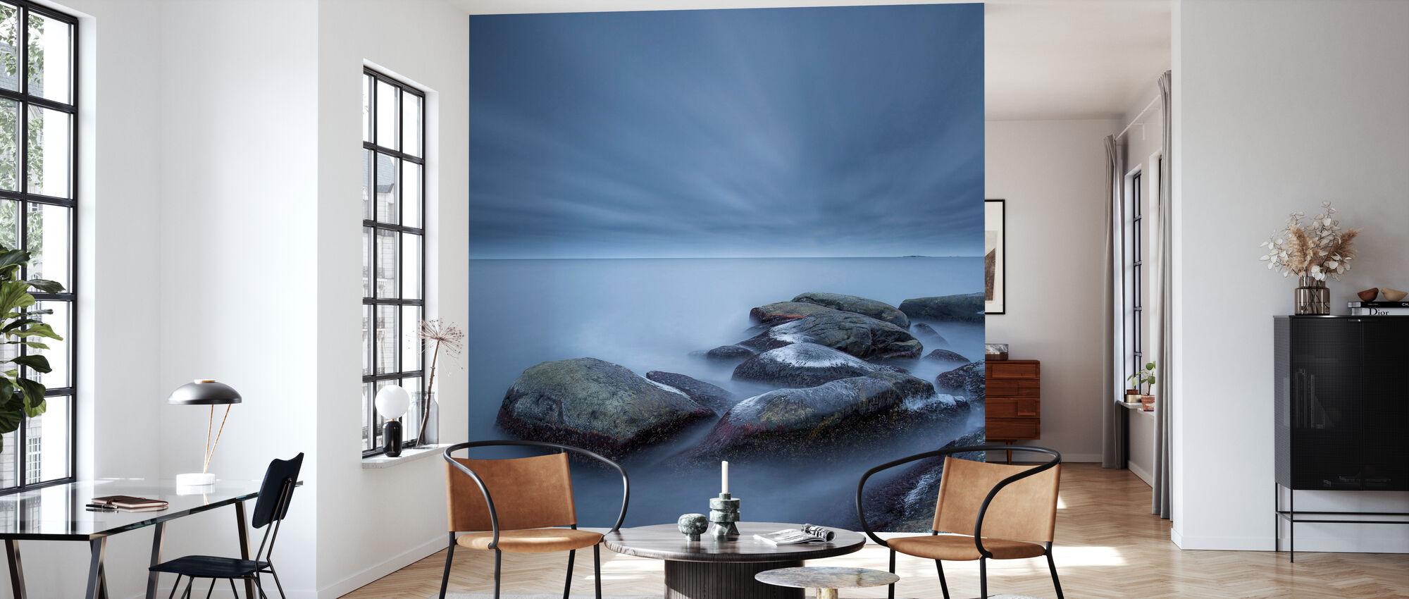 Foggy Stones in Blue Sea - Wallpaper - Living Room
