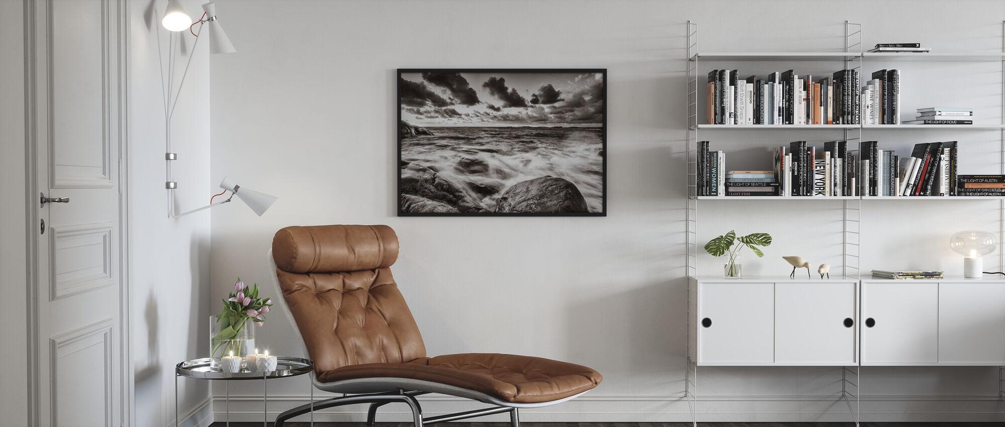 Stormy Sea at Rocks - Framed print - Living Room