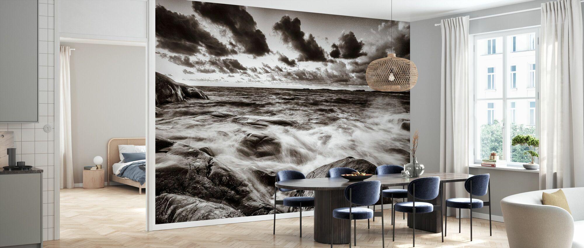 Stormy Sea at Rocks - Wallpaper - Kitchen