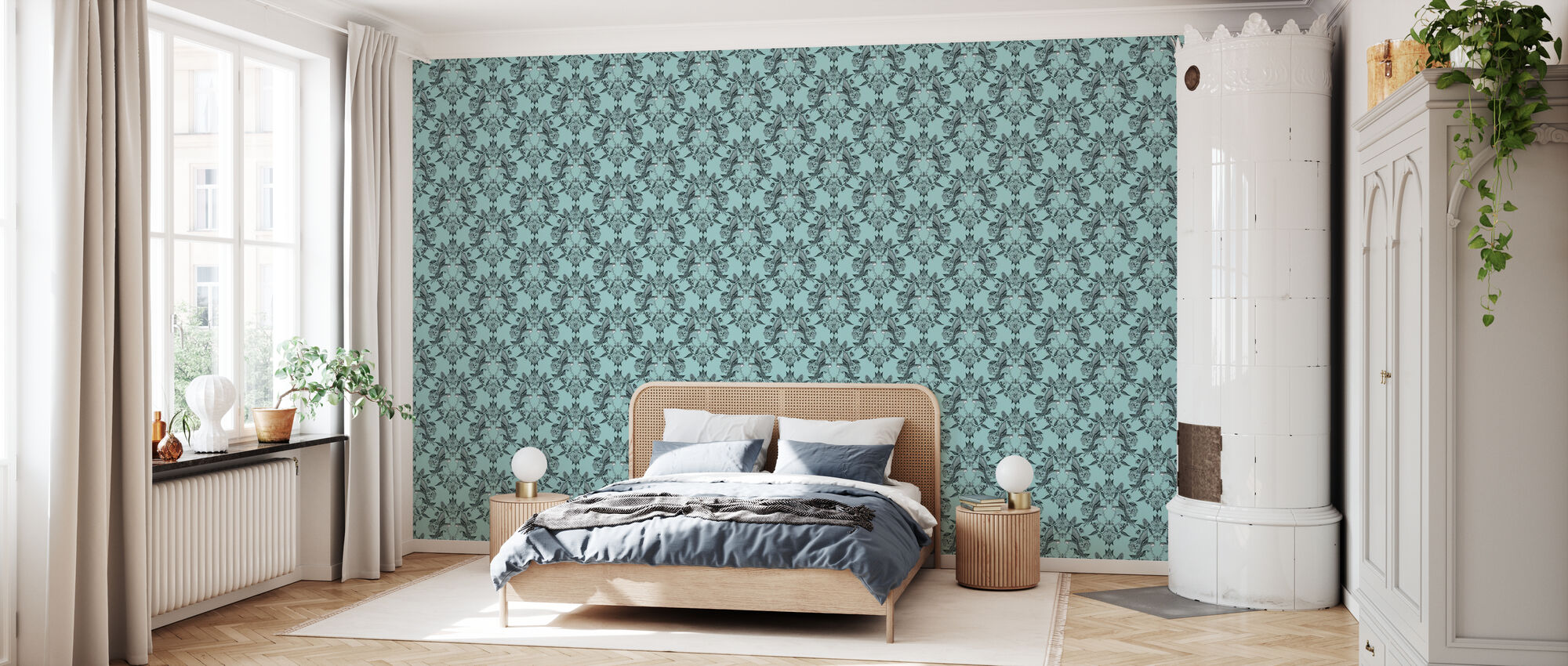 Budgies Medallion Turquoise - Wallpaper - Bedroom