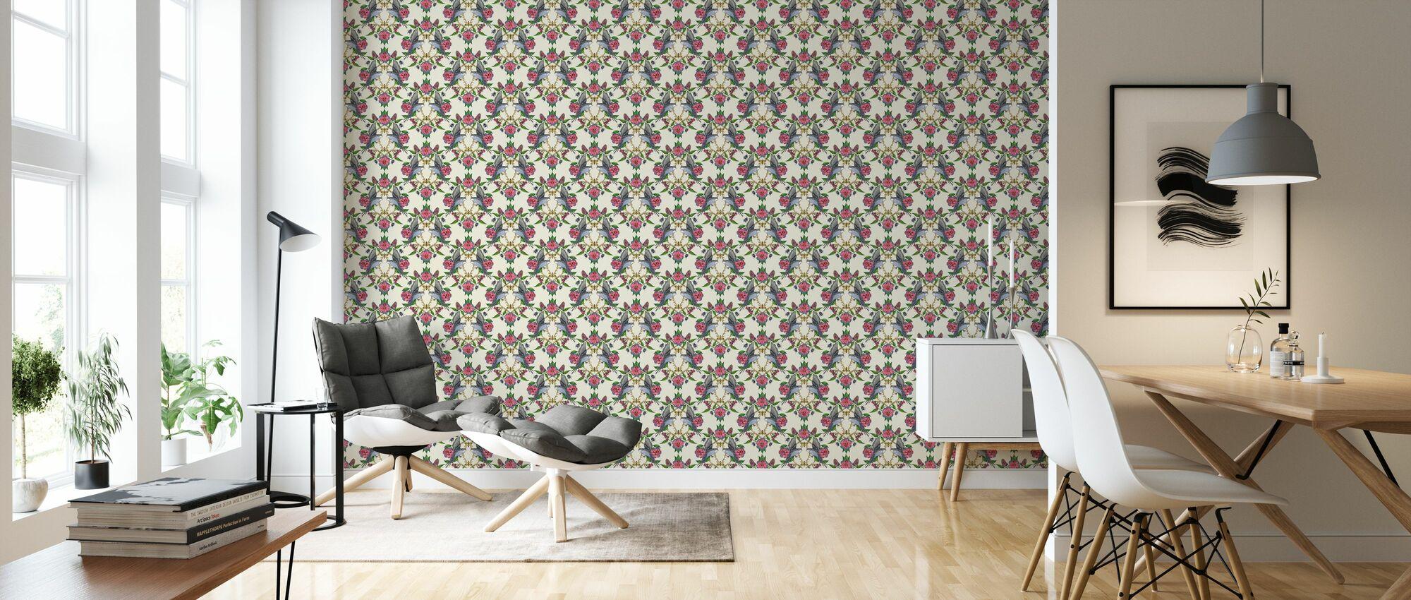 Budgies Medallion Offwhite - Wallpaper - Living Room
