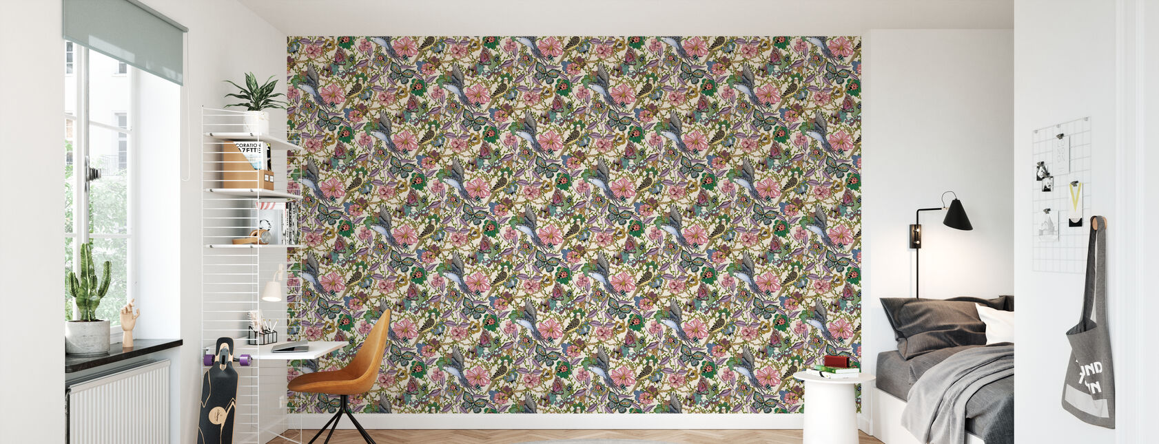 Budgies Offwhite - Small - Wallpaper - Kids Room