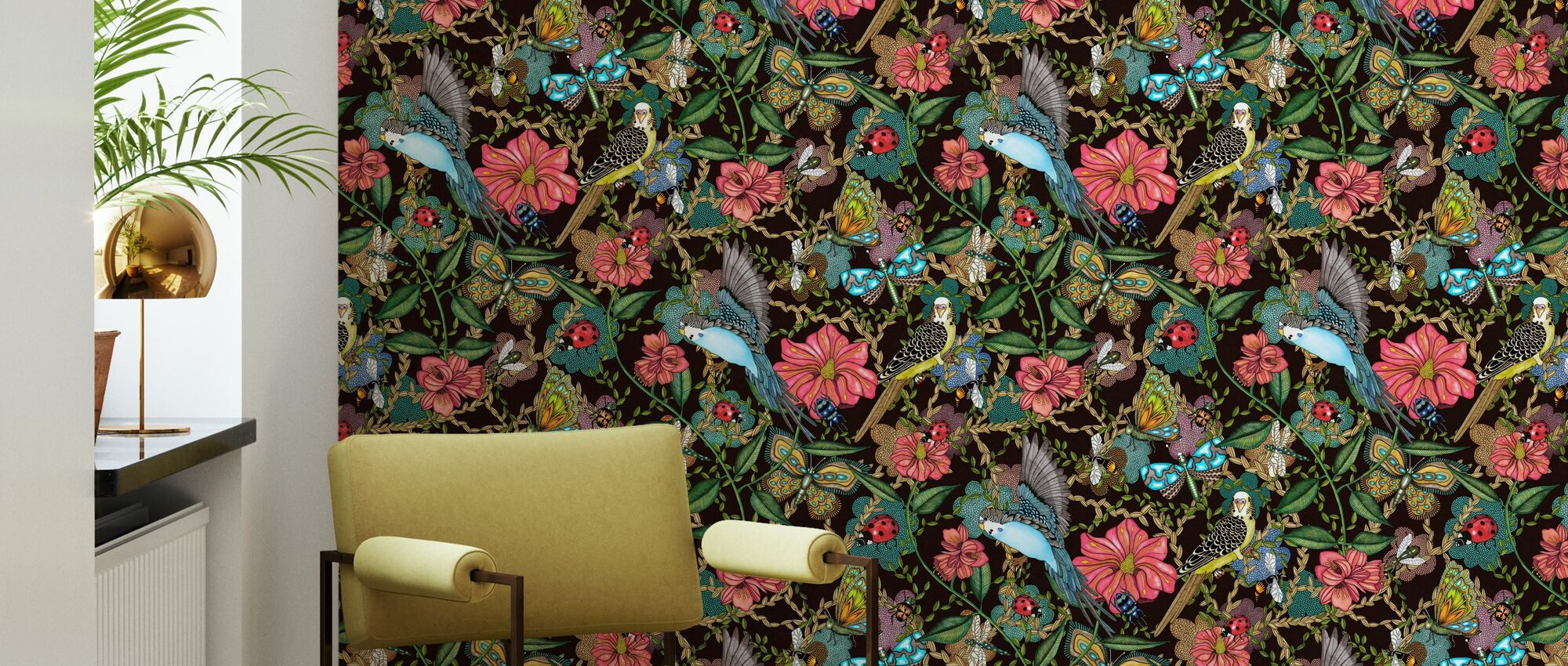 Budgies Black - Small - Wallpaper - Living Room