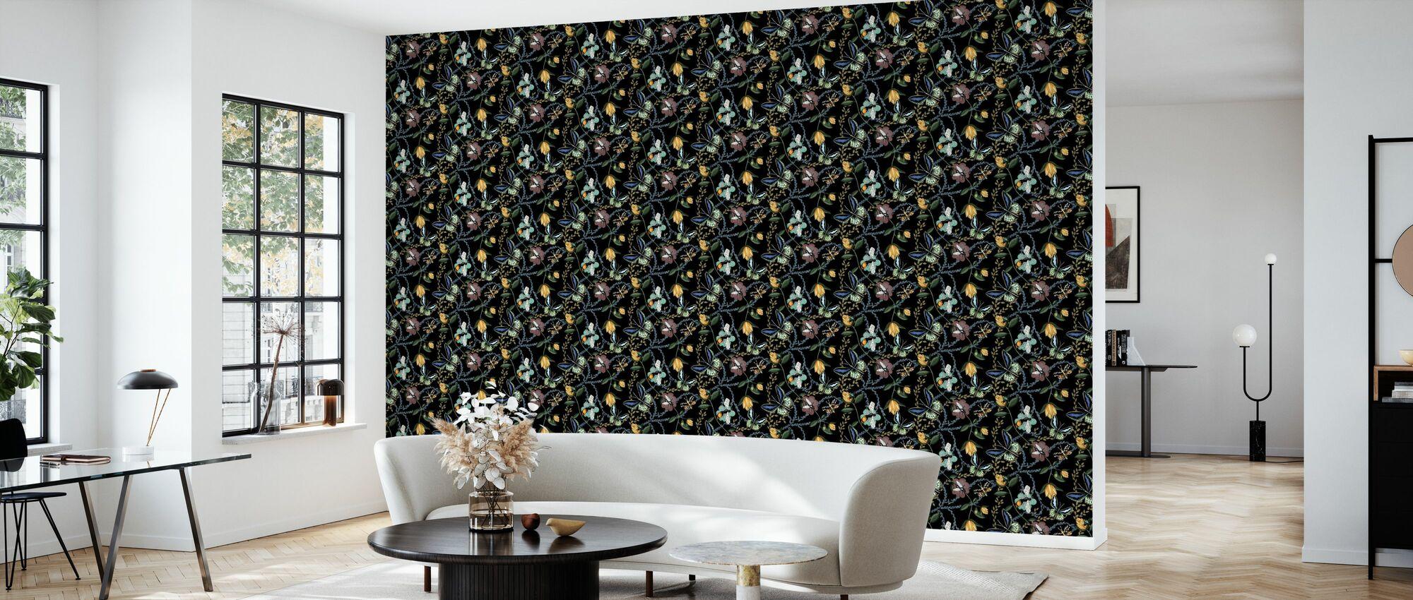 Bugs & Butterflies Black - Small - Wallpaper - Living Room