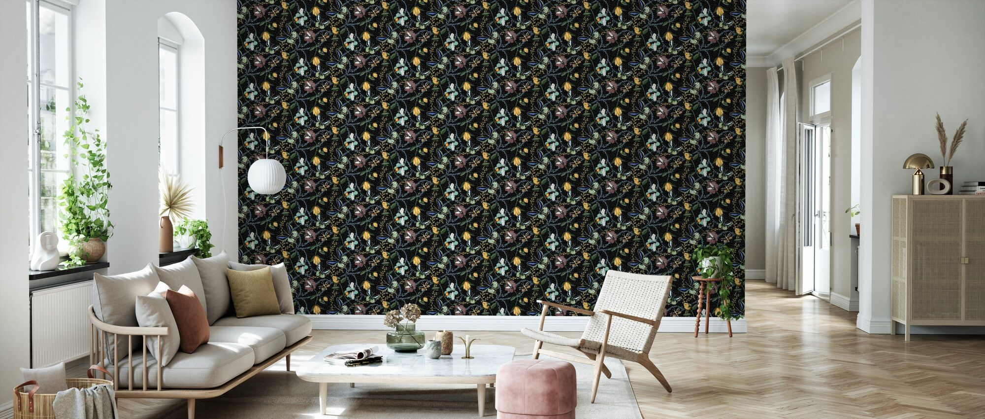 Bugs & Butterflies Black with Dots - Small - Wallpaper - Living Room
