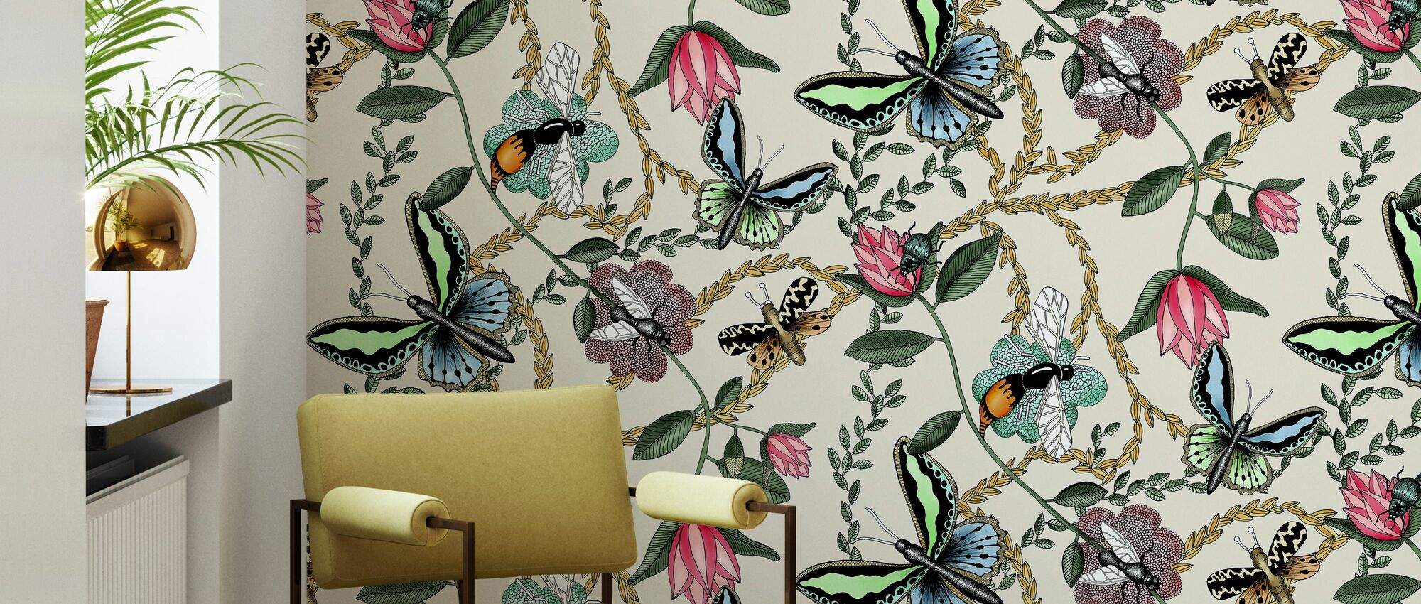 Bugs & Butterflies Offwhite & - Large - Wallpaper - Living Room