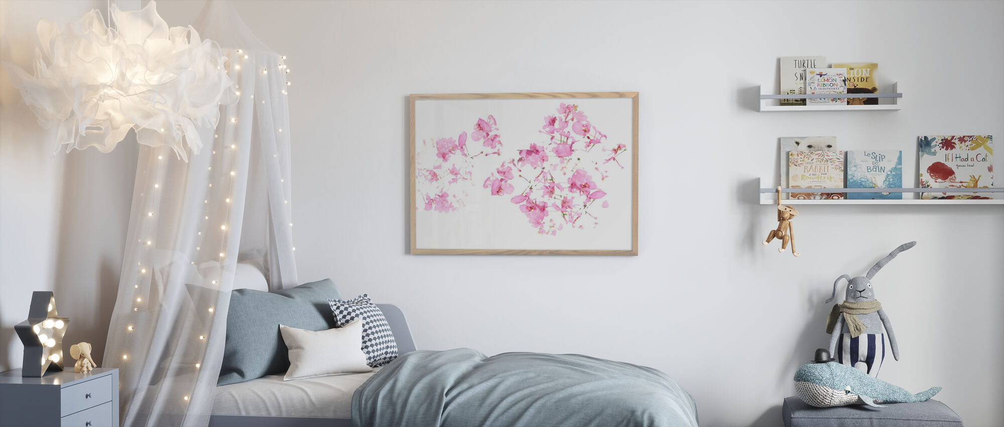 Pink Floral flow - Framed print - Kids Room