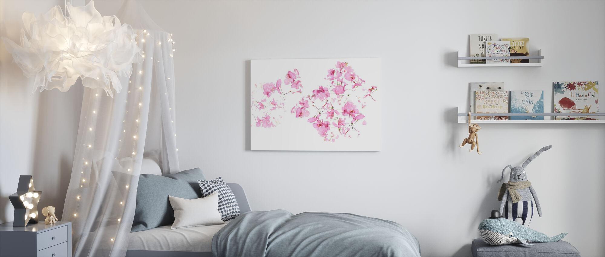 Flux floral rose - Impression sur toile - Chambre des enfants