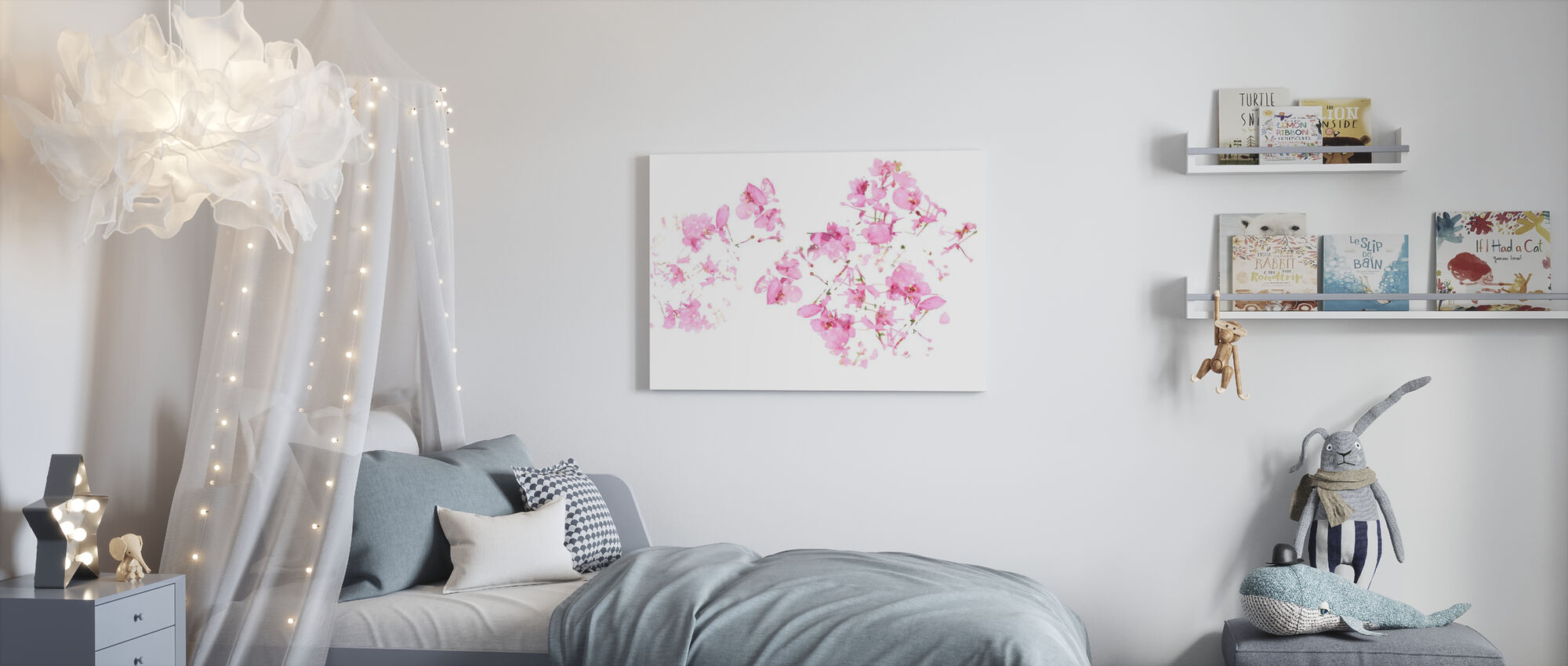 Roze Bloemenstroom - Canvas print - Kinderkamer