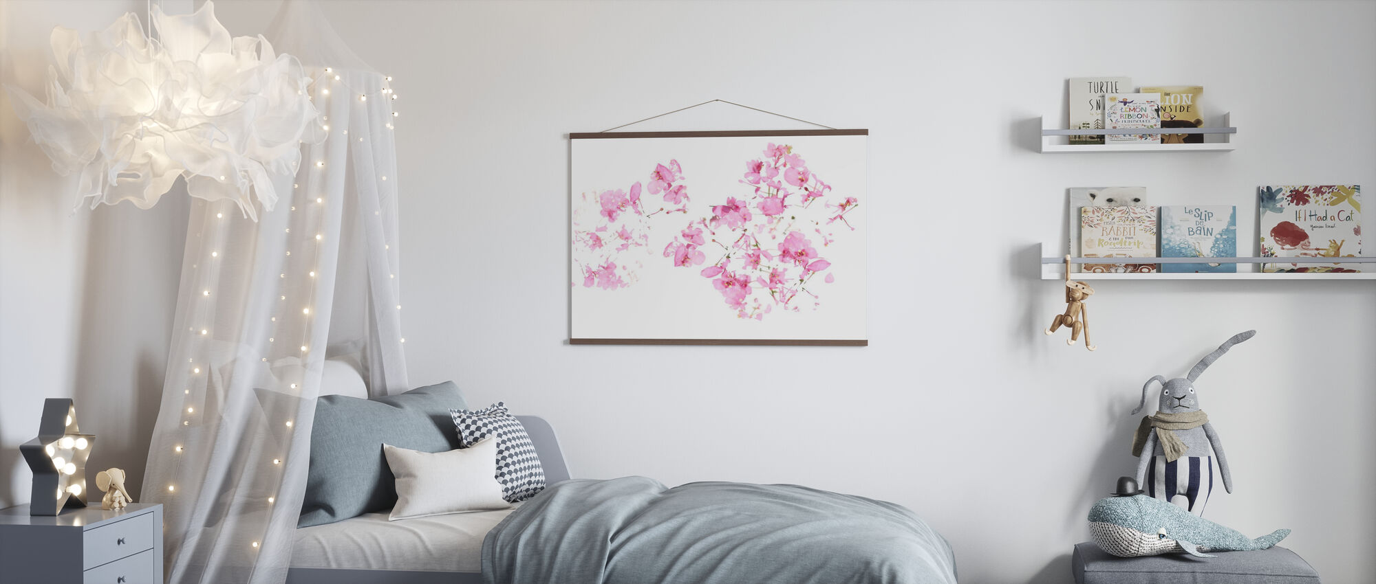 Pink Floral flow - Poster - Kids Room