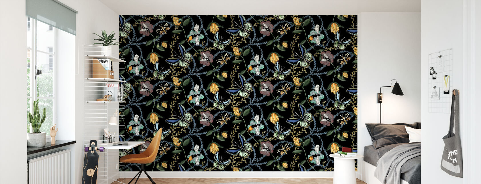 Bugs & Butterflies Black - Large - Wallpaper - Kids Room