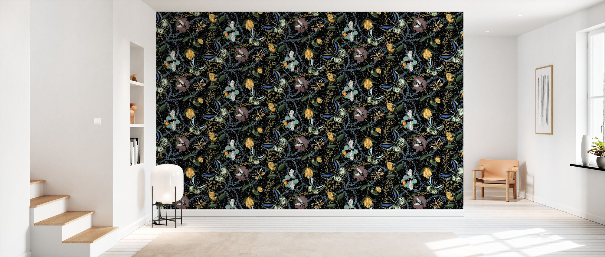 Bugs & Butterflies Black with Dots - Large - Wallpaper - Hallway