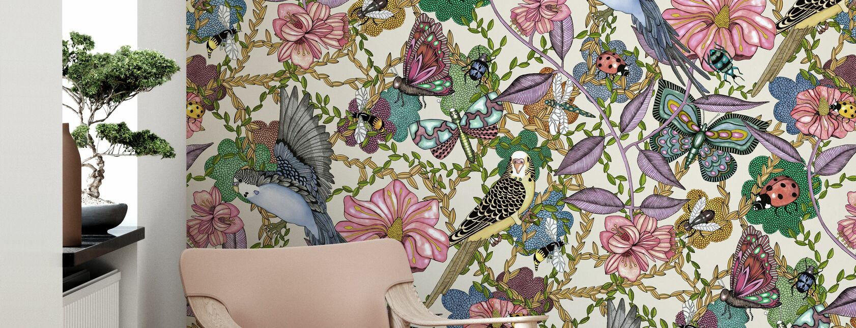 Budgies Offwhite - Large - Wallpaper - Living Room